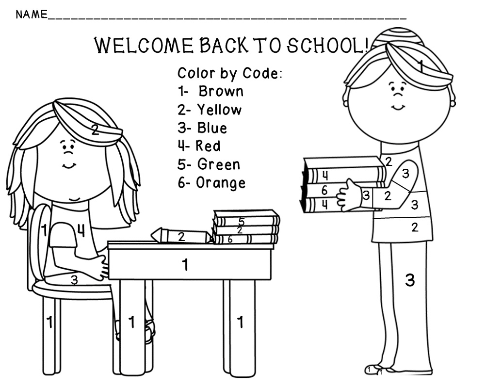 Back To School Coloring Pages By Numbers