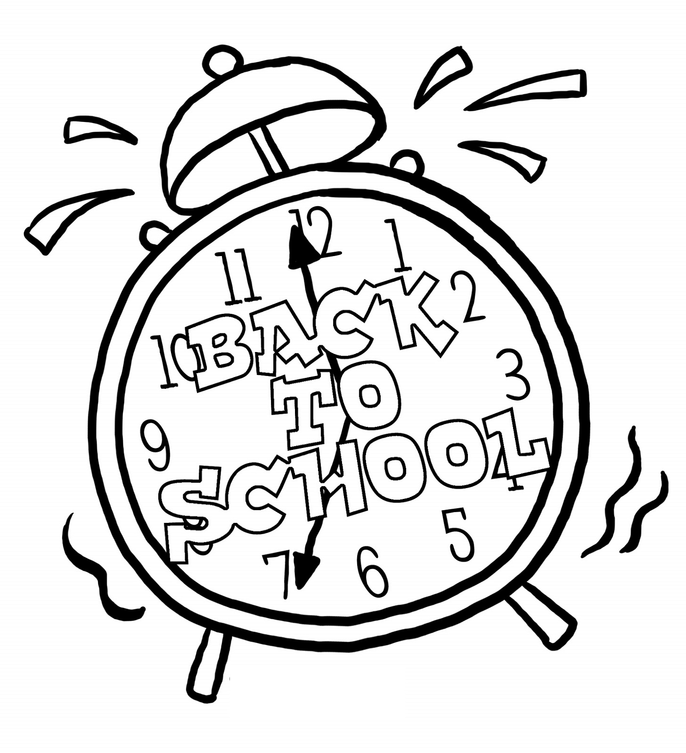 Back To School Coloring Pages Clock