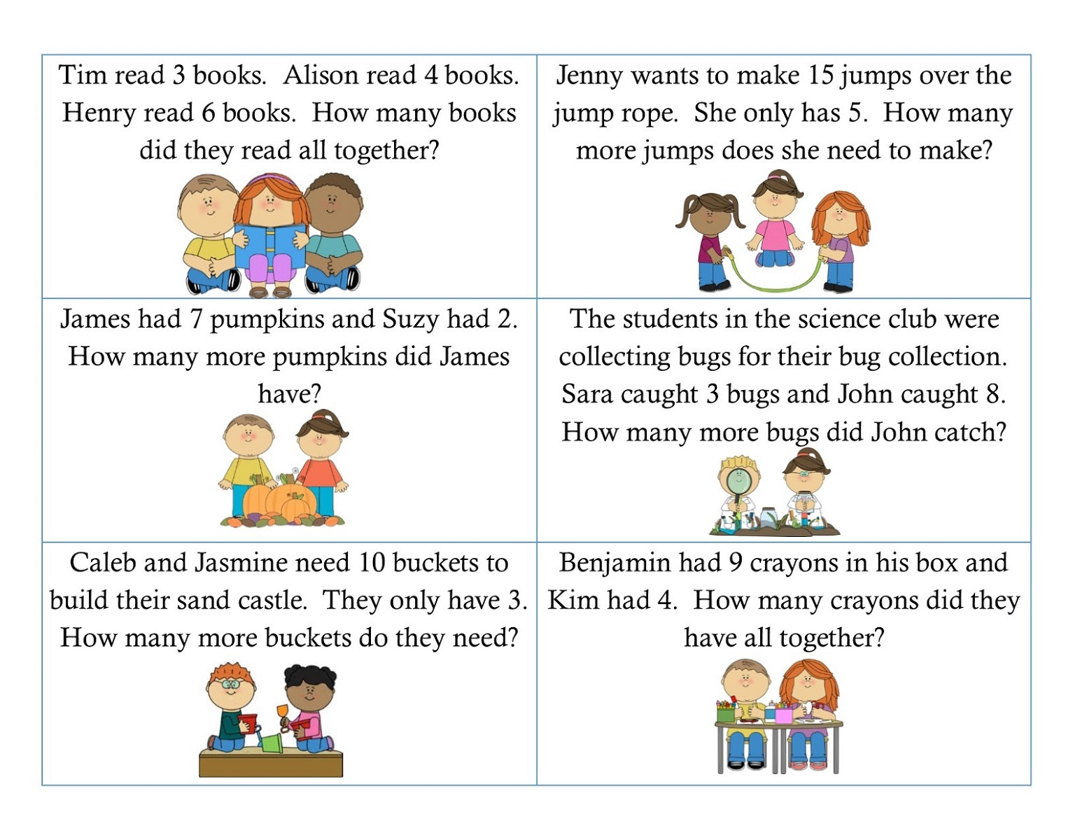 Basic Math Problems Worksheets First Grade