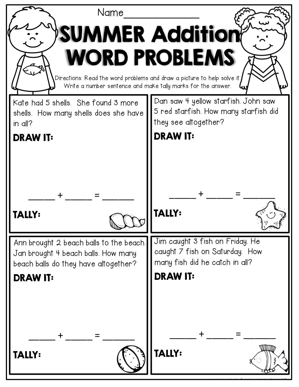 Basic Math Problems Worksheets Word Problems