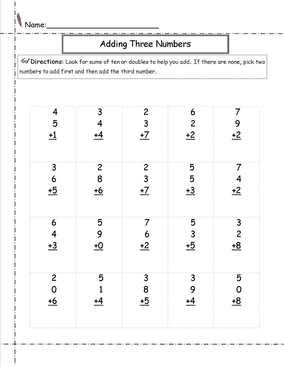 Basic Math Worksheets Addition
