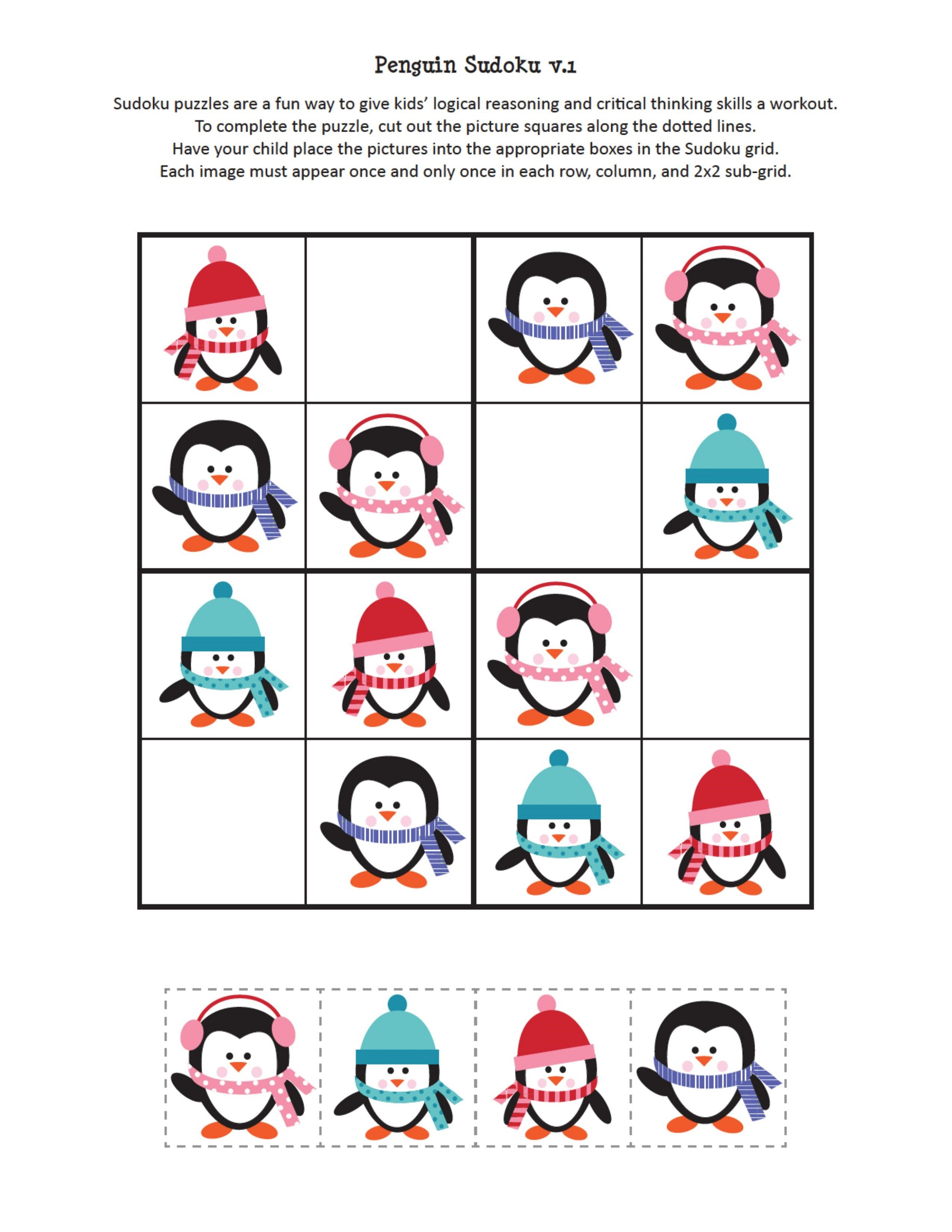 Children's Activity Sheets Free Penguin Sudoku