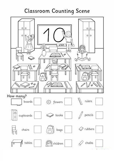 Classroom Worksheets Counting