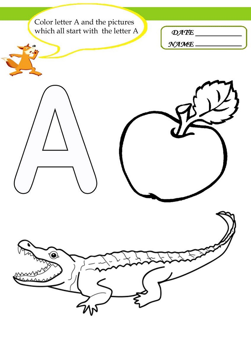 Coloring Worksheets For Kindergarten Letter A
