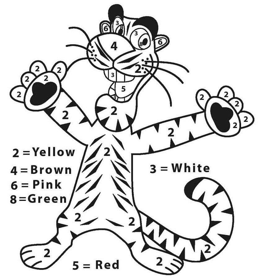 Coloring Worksheets For Kindergarten Tiger