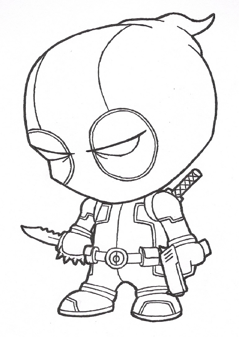 Deadpool Coloring Pages Small