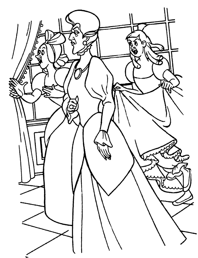 Disney Villains Coloring Pages Cinderellas Stepmother And Stepsisters