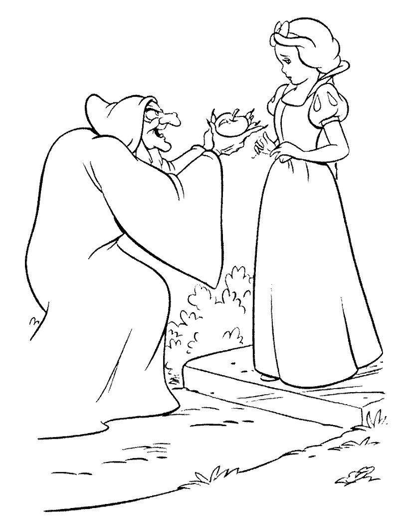 Disney Villains Coloring Pages Old Hag And Snow White