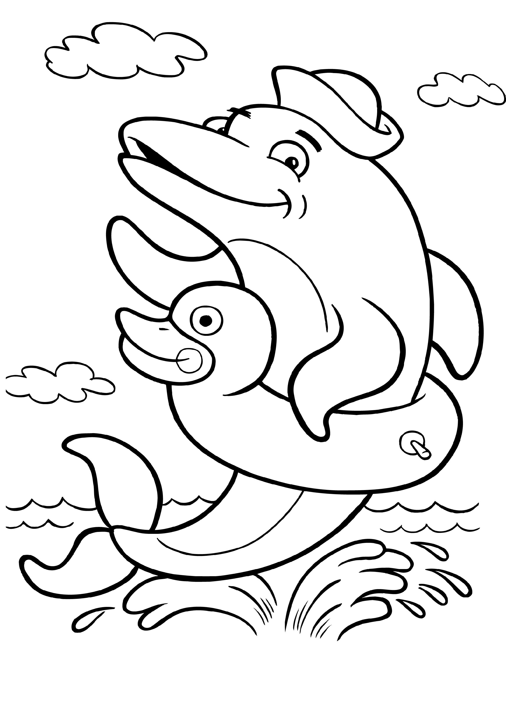 Dolphin Coloring Pages Animals