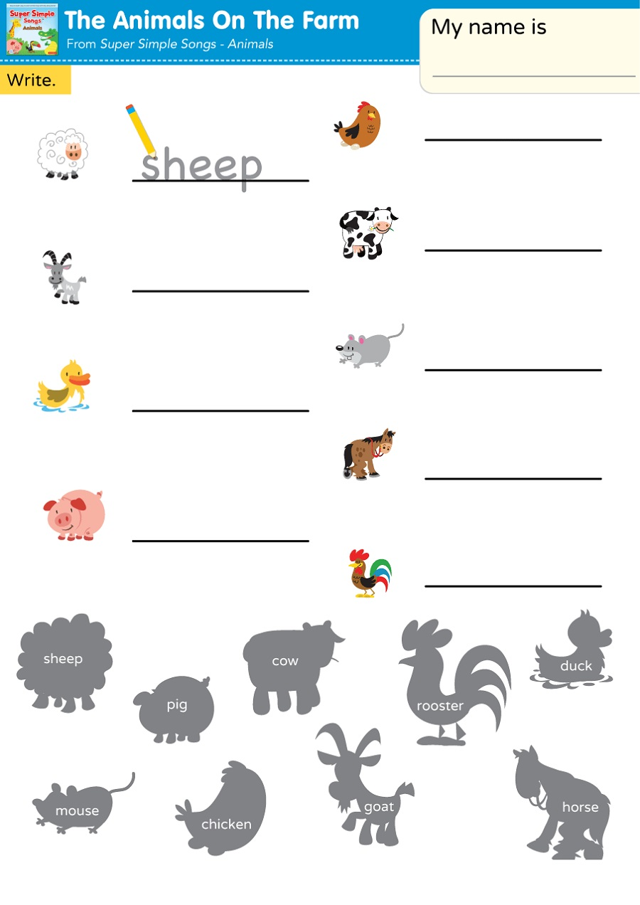 Easy Worksheets For Kids Animal