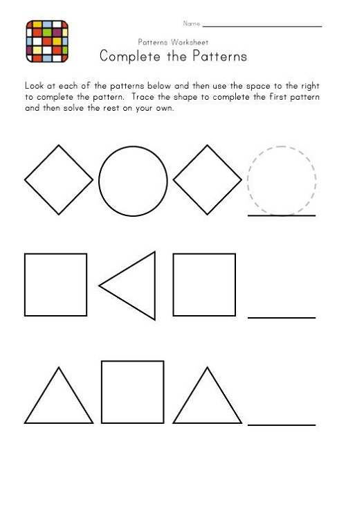 Easy Worksheets For Preschoolers Pattern