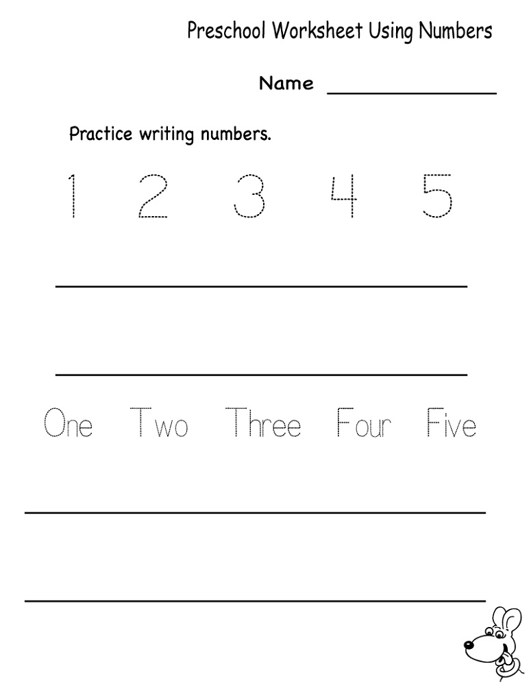 Educational Worksheets For 5 Year Olds Number