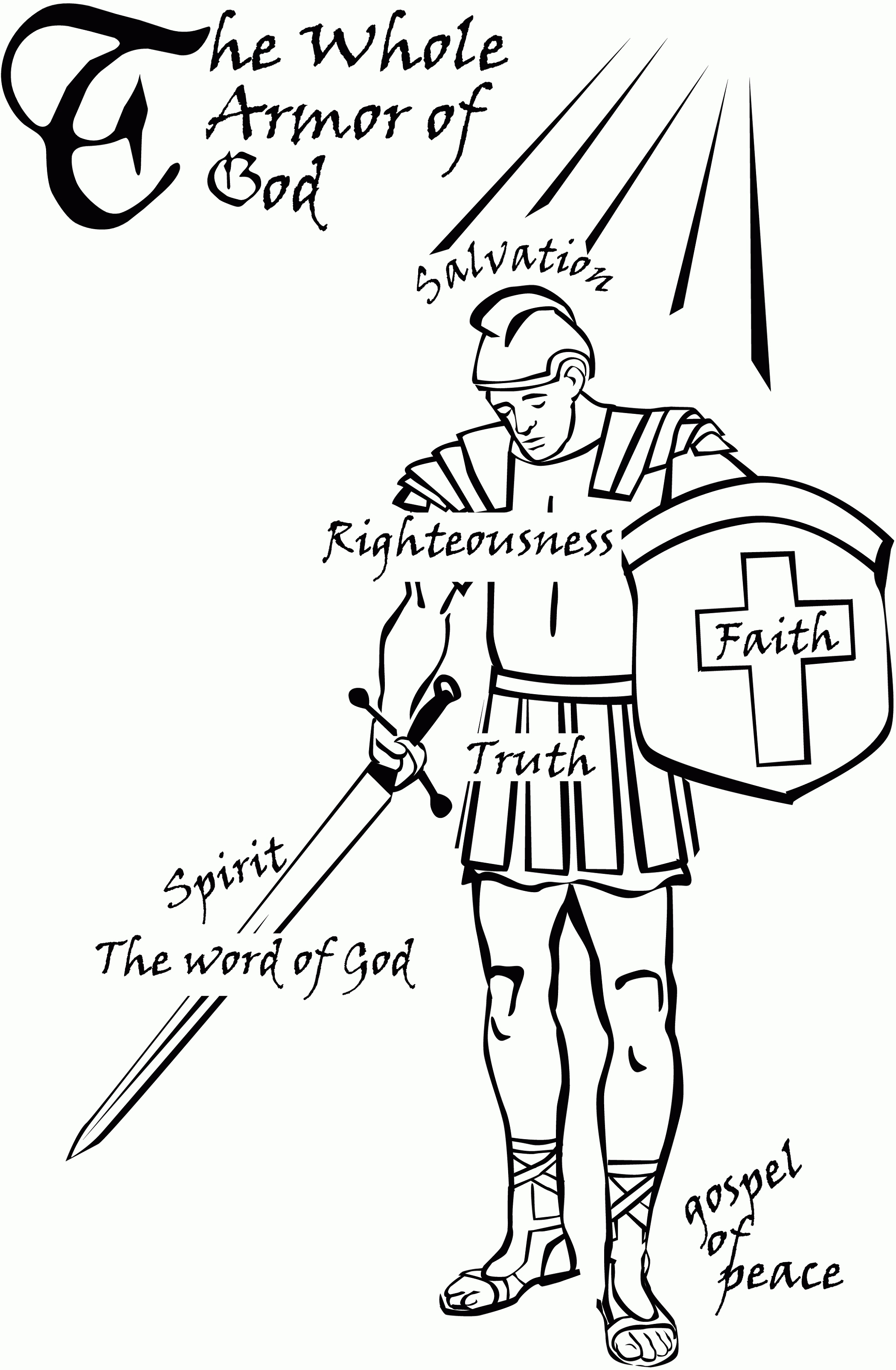 The Whole Armor Of God Coloring Pages