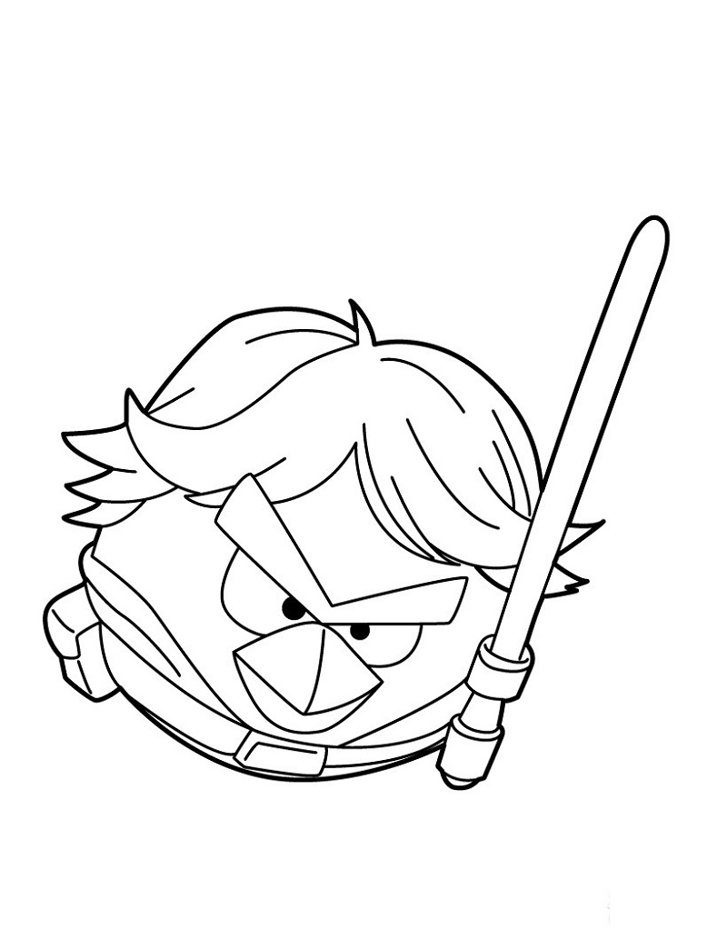 Angry Birds Star Wars Coloring Pages Luke Skywalker