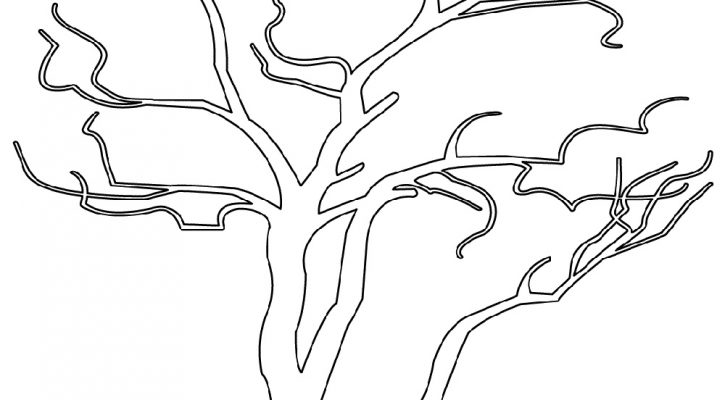 Bare Tree Coloring Page Outline