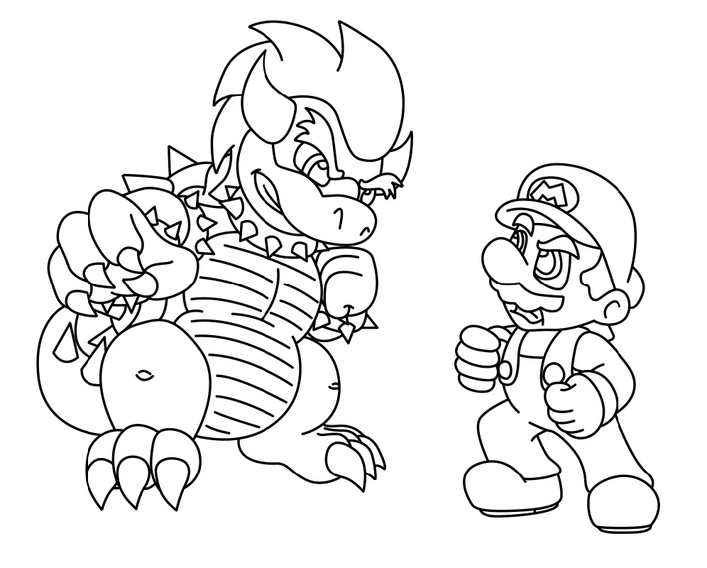 Bowser Coloring Page And Mario