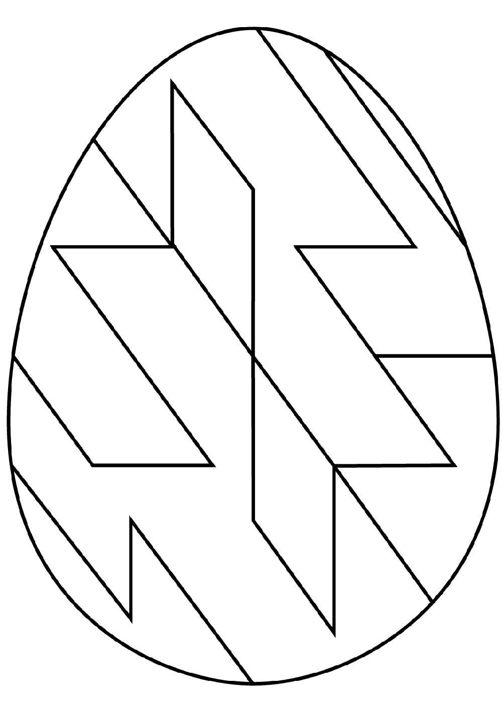 Easter Egg Coloring Ideas With Abstract Geometric Pattern