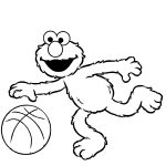 Elmo Coloring Pages Plays Basketball