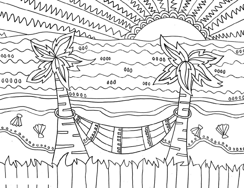 Beach Coloring Pages Hammock