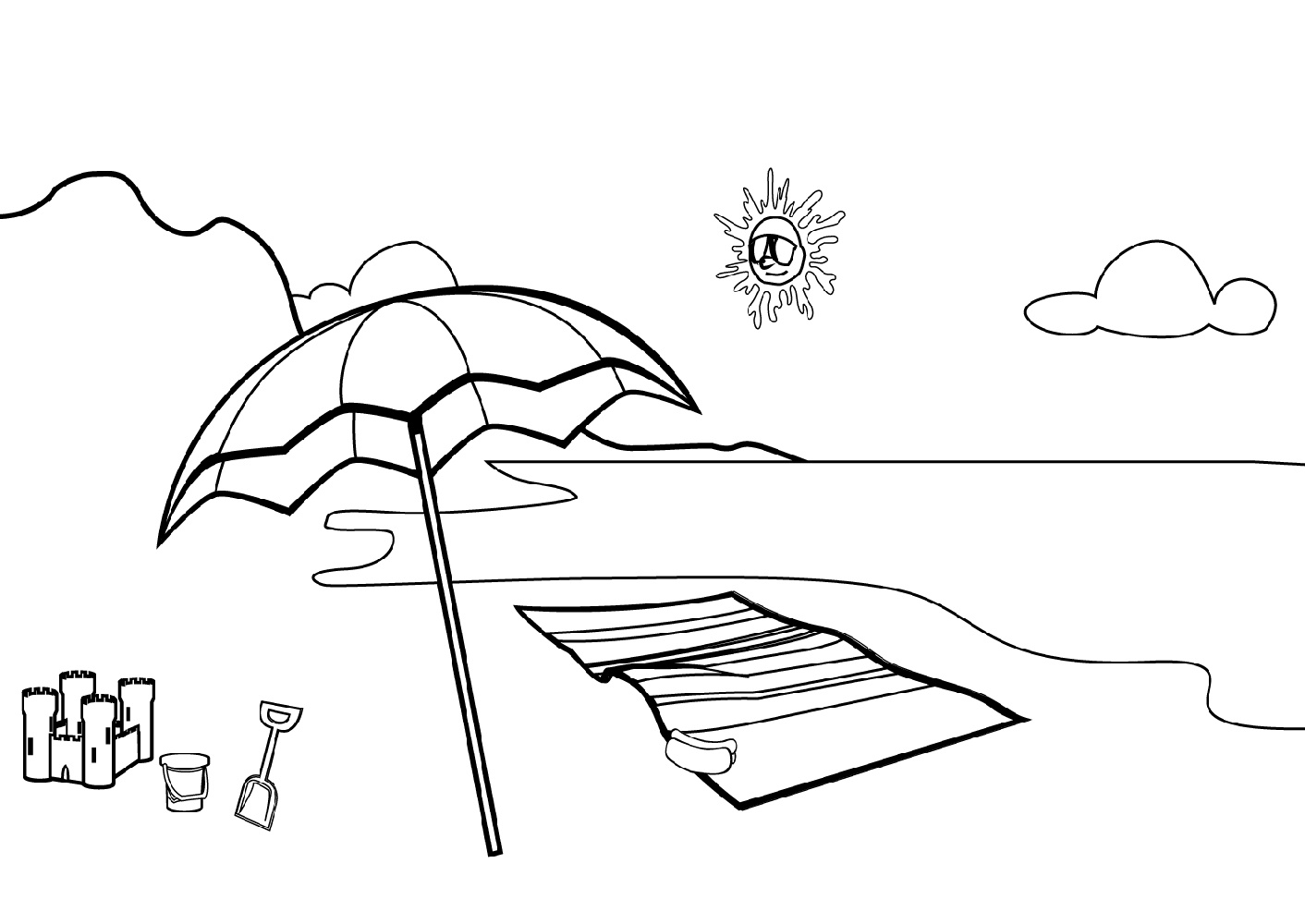 Beach Coloring Pages Scene