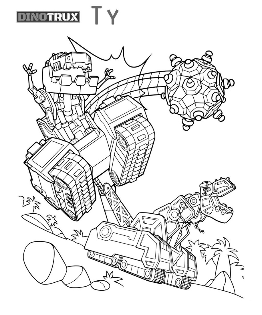 Dinotrux Coloring Pages Fighting
