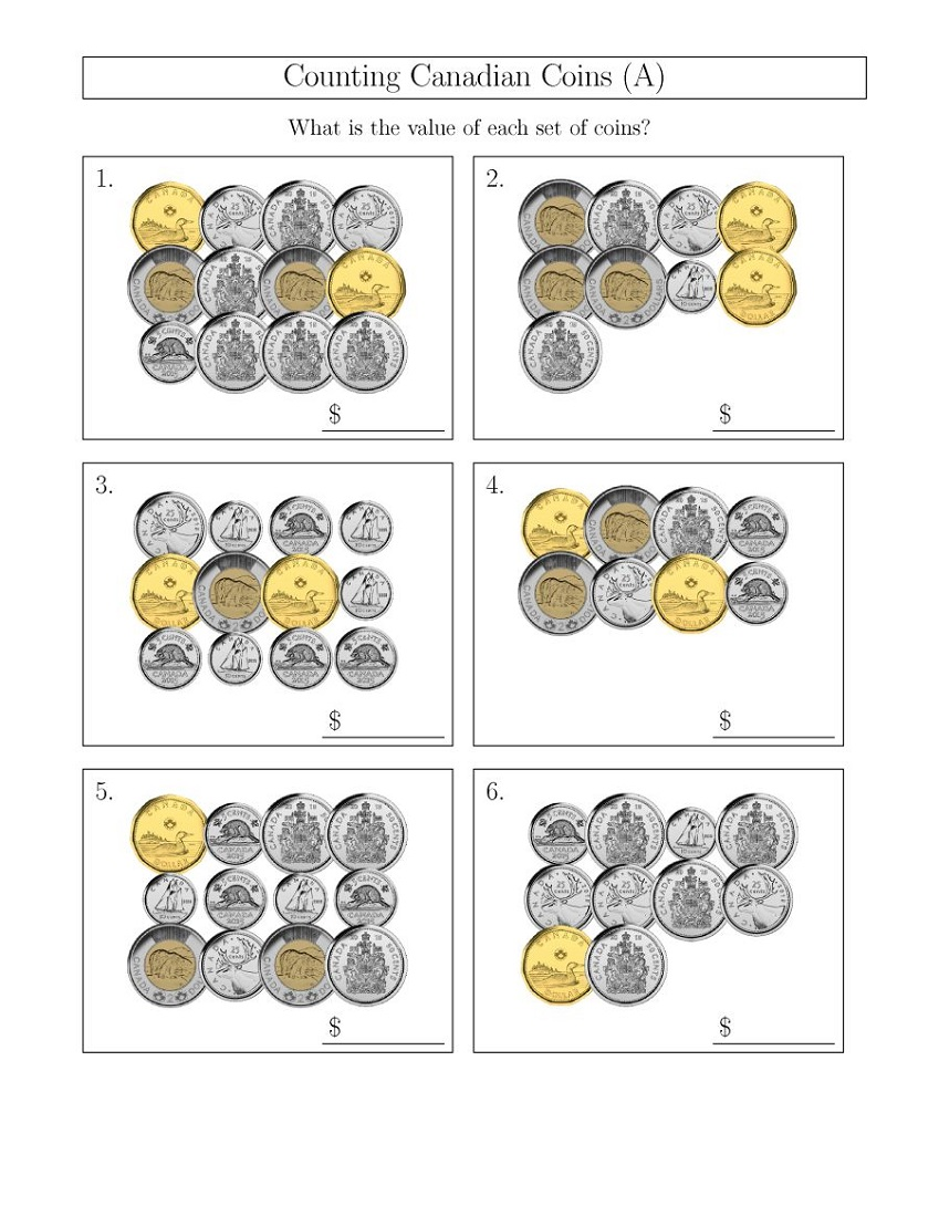 Easy Math Worksheets Coins