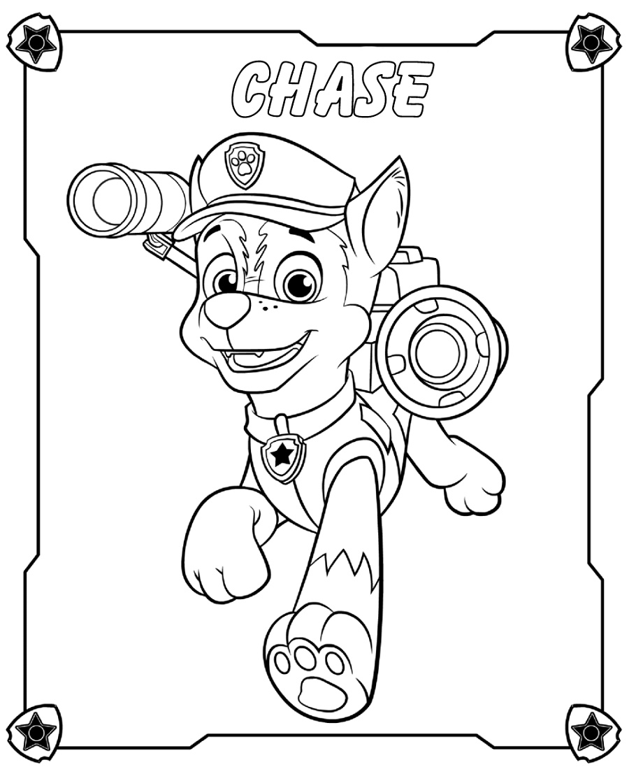 Free Printable Paw Patrol Coloring Pages Chase