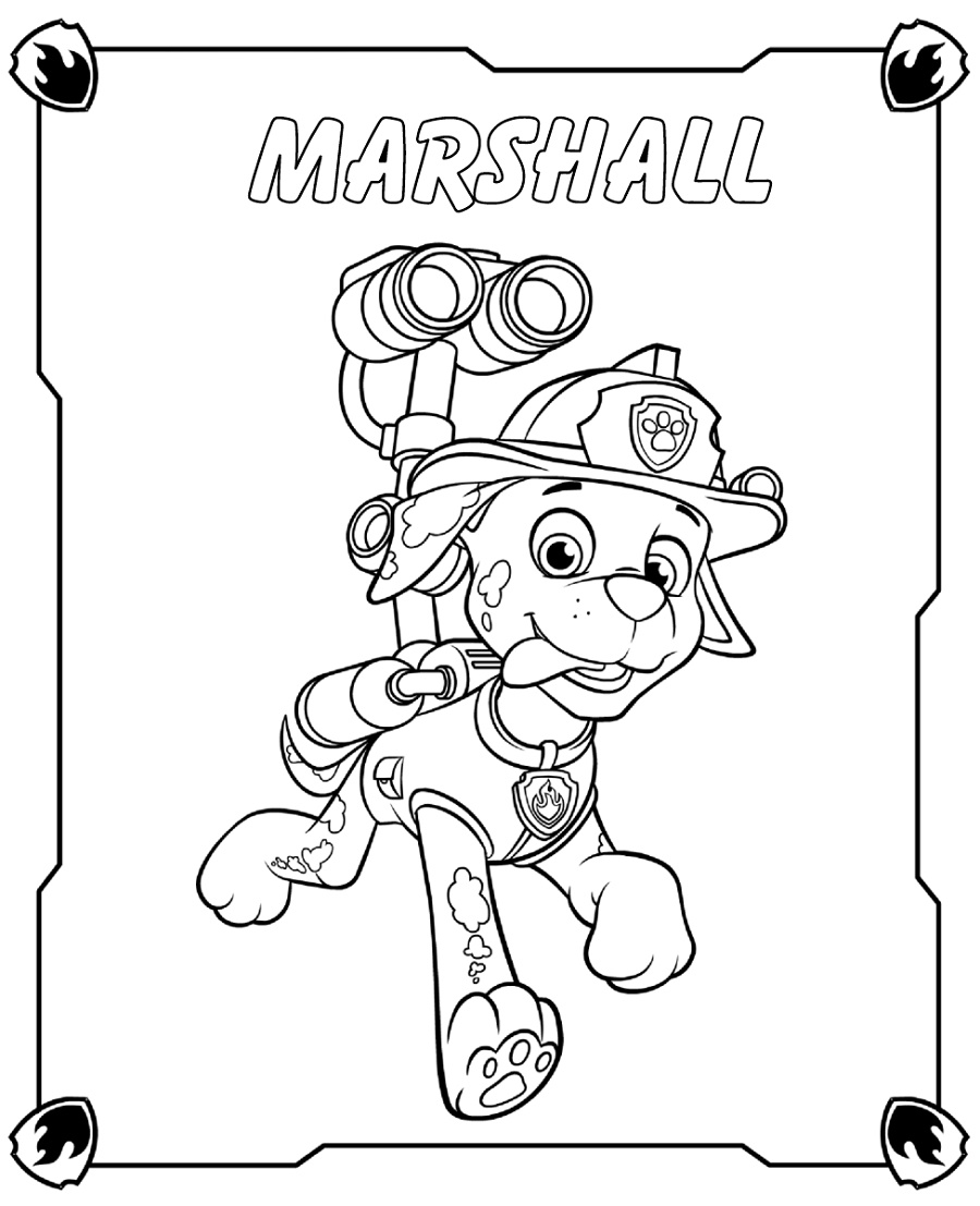 Free Printable Paw Patrol Coloring Pages Marshall