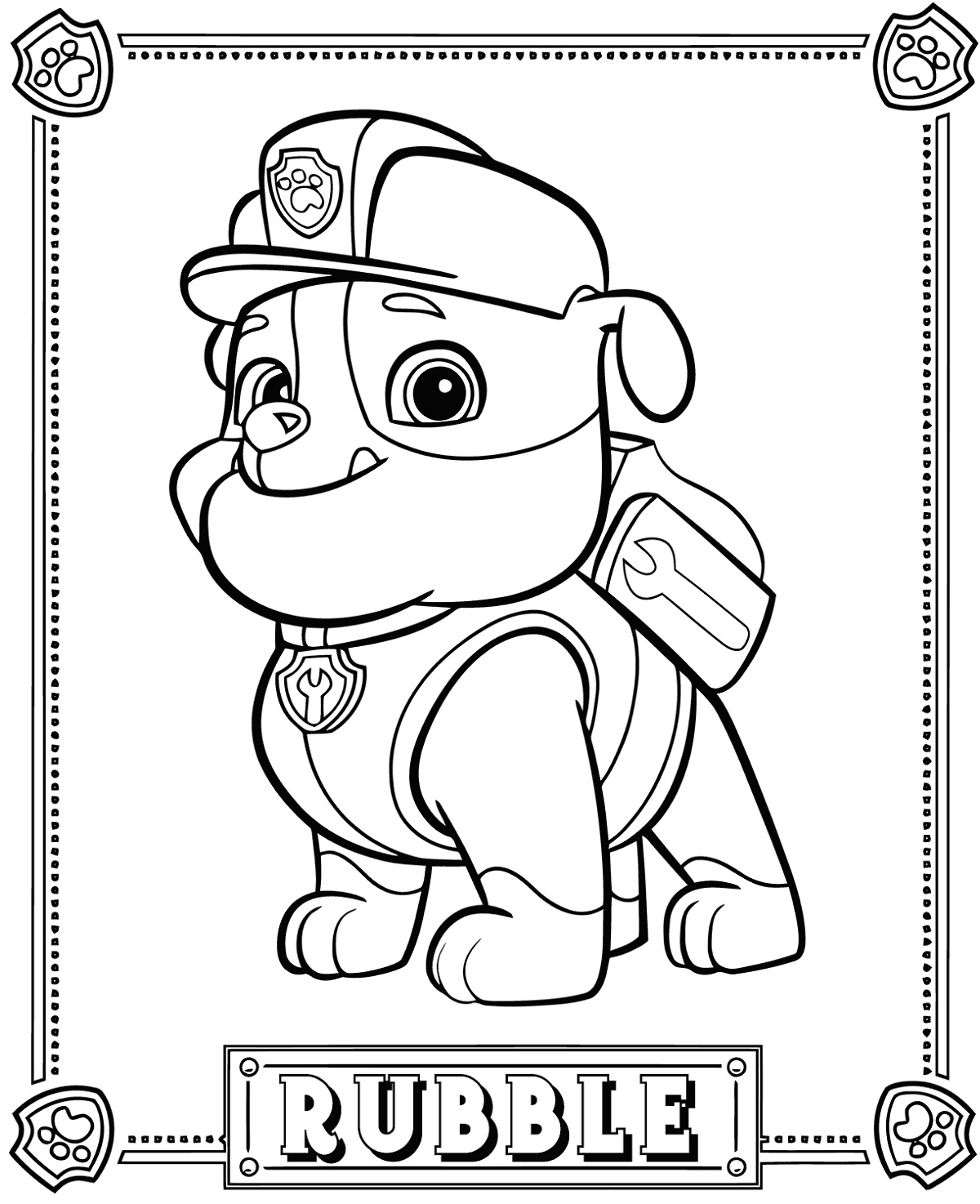 Free Printable Paw Patrol Coloring Pages Rubble