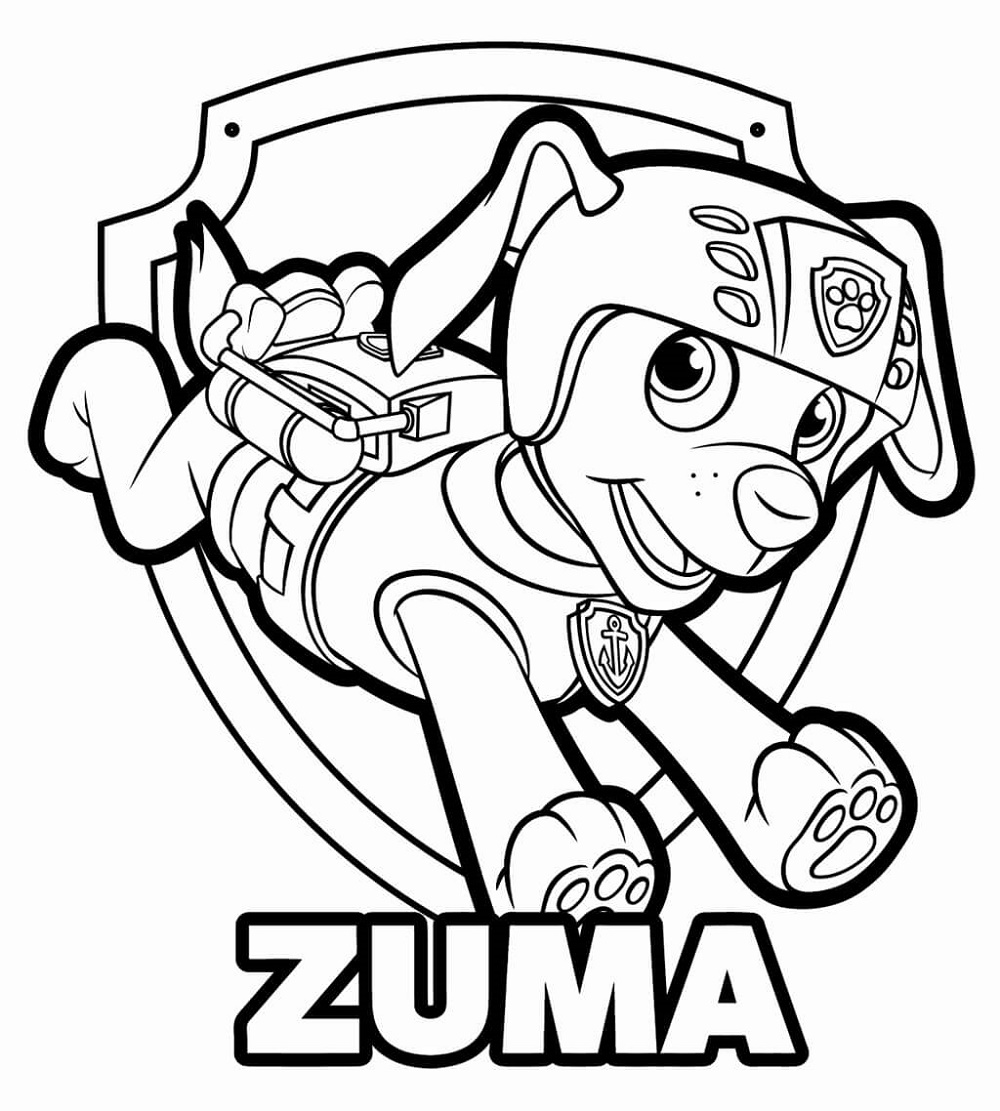 Free Printable Paw Patrol Coloring Pages Zuma