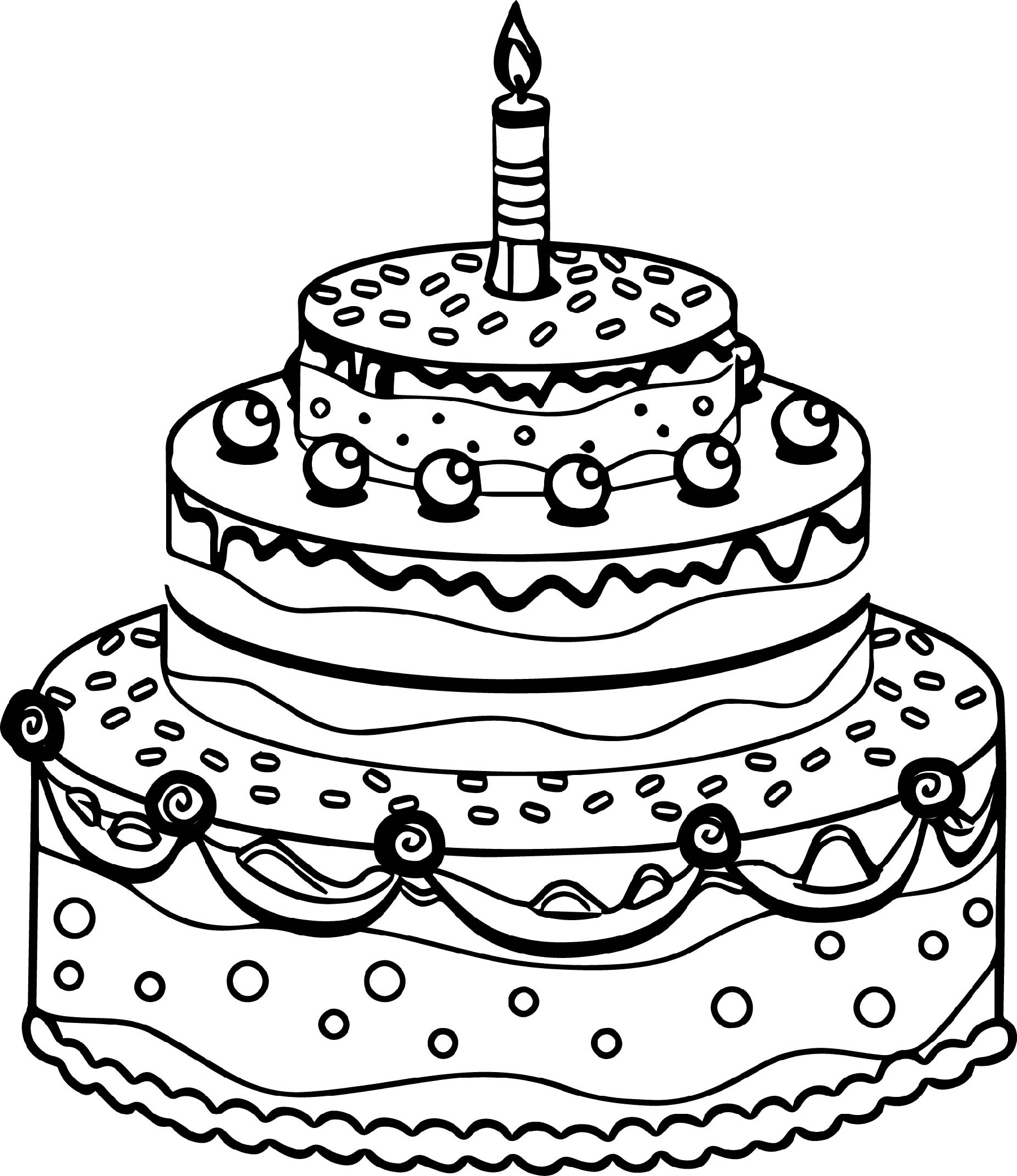 Cake Coloring Pages Cute