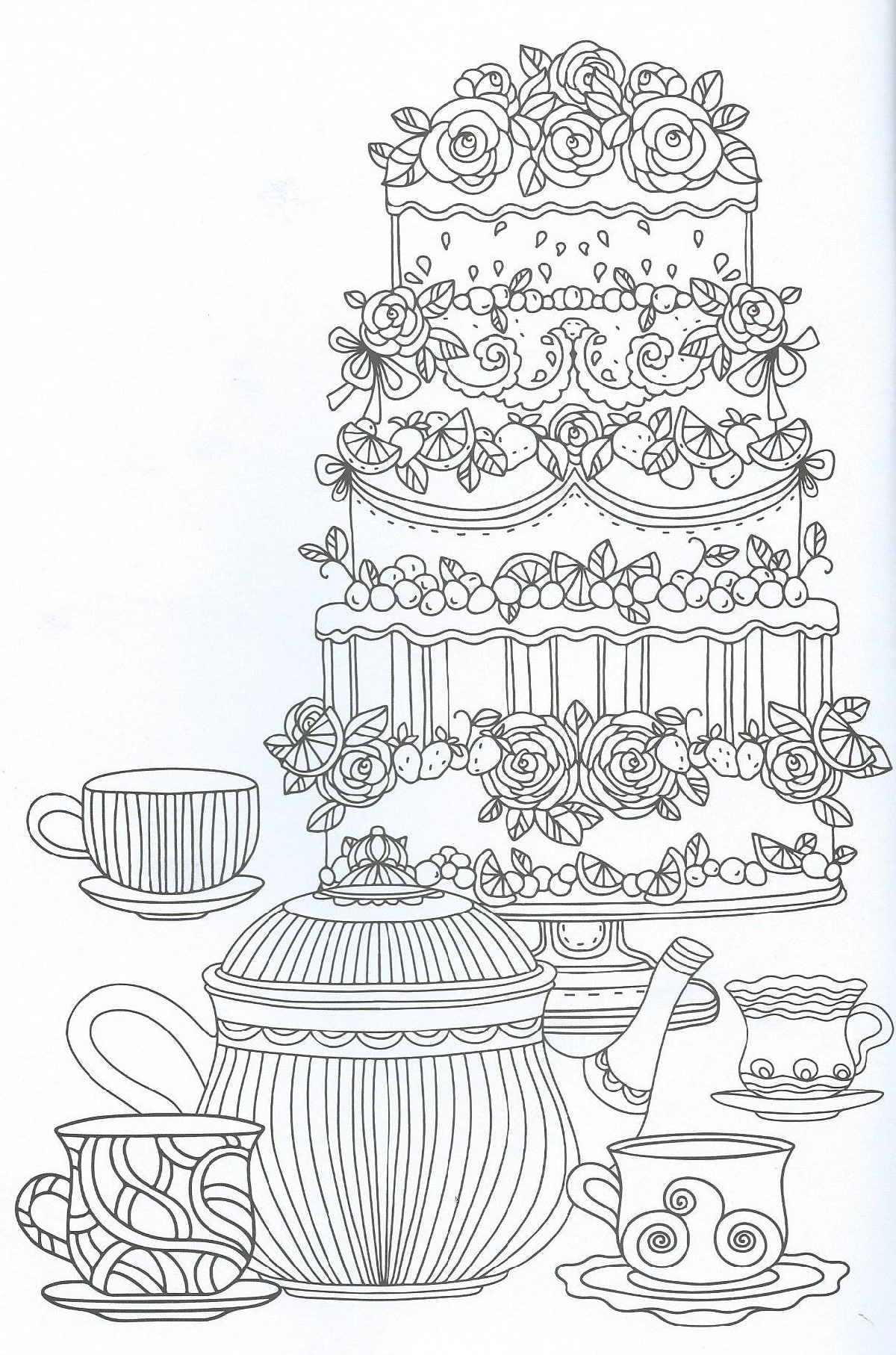 Cake Coloring Pages For Adult