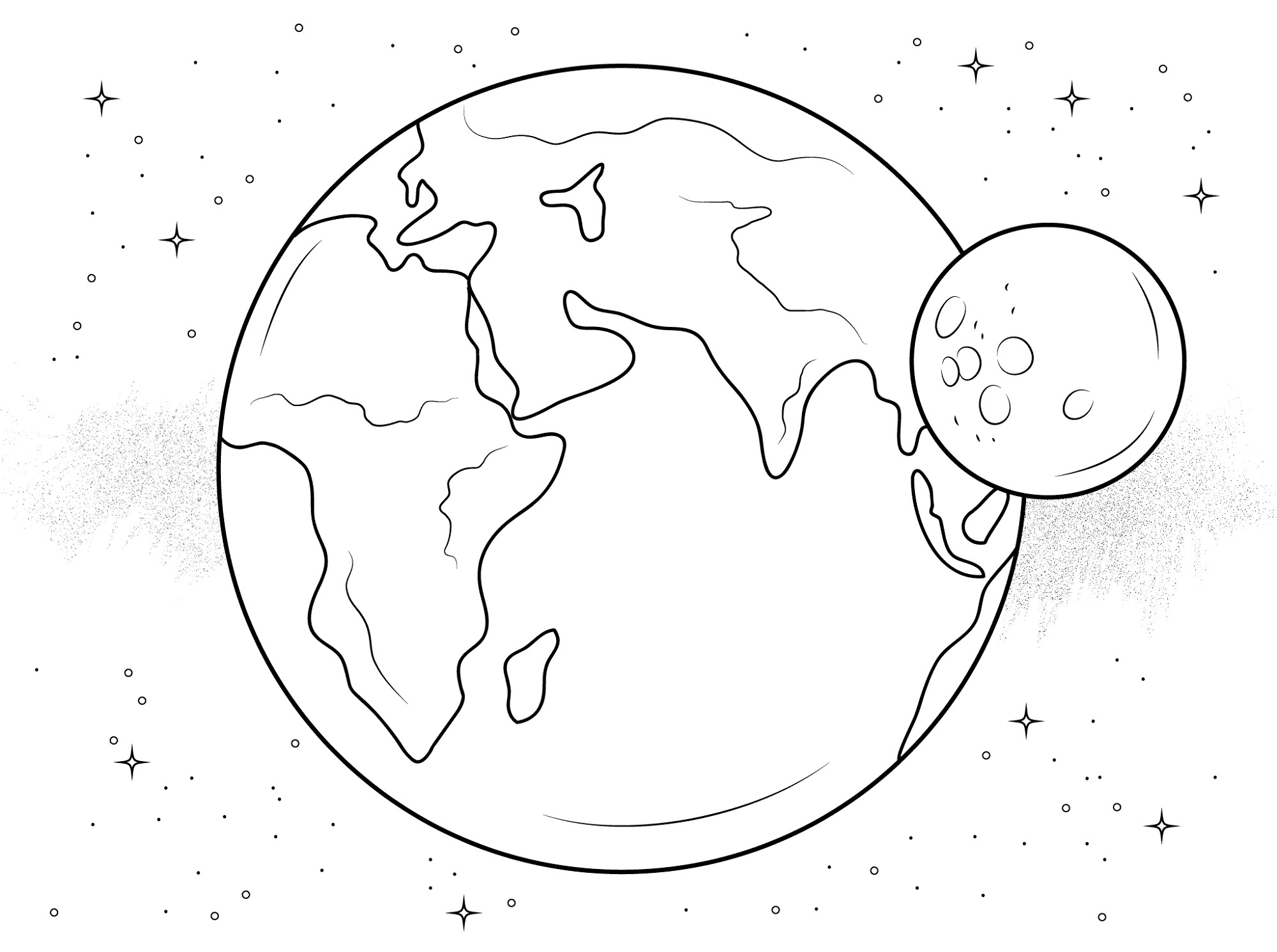 Earth Coloring Pages And Moon