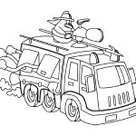 Fire Truck Coloring Page Cartoon
