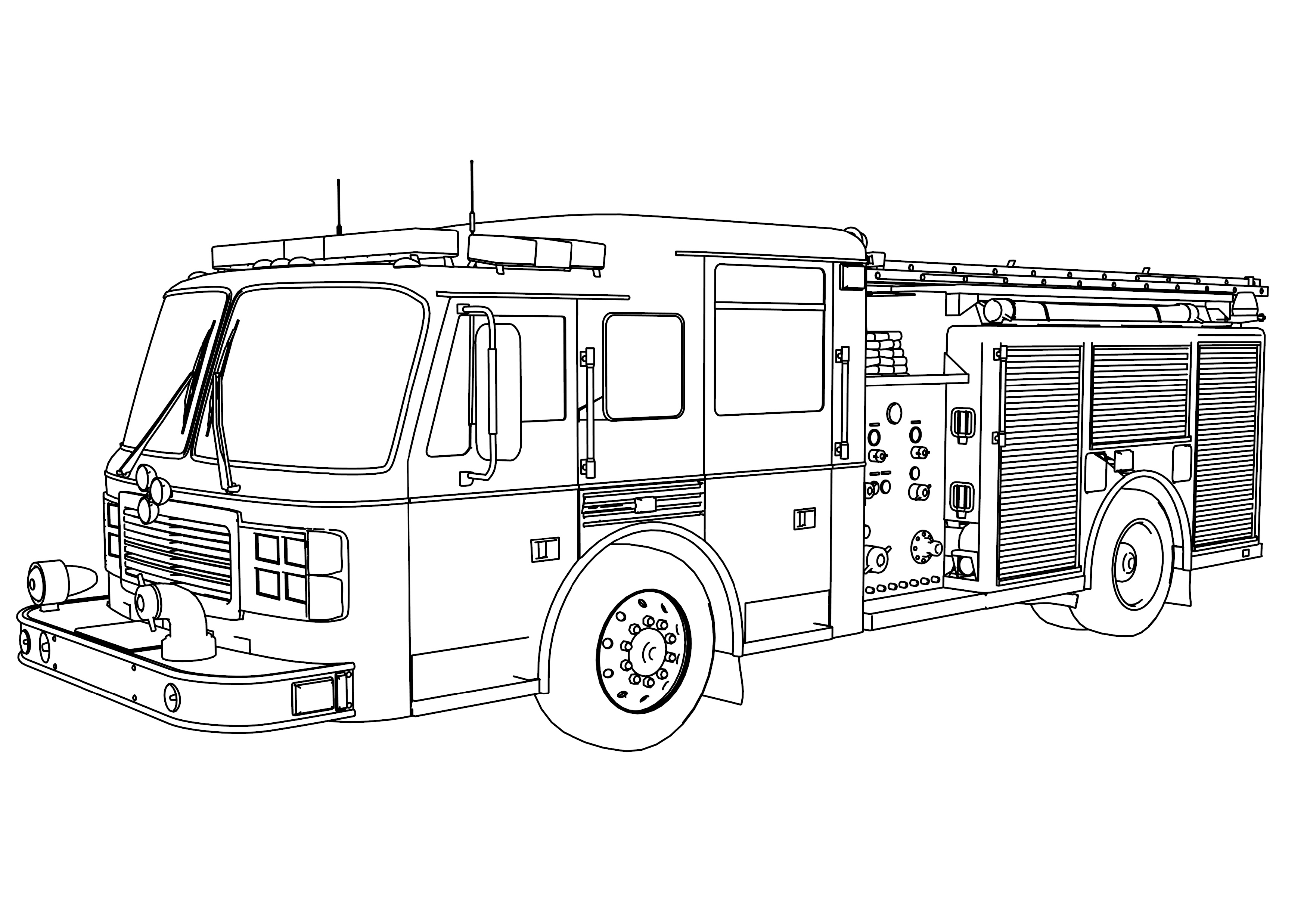 Fire Truck Coloring Page Free