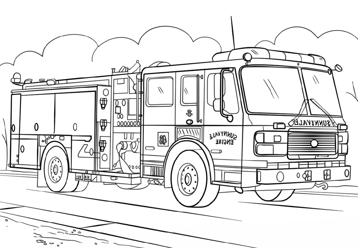Fire Truck Coloring Page Printable