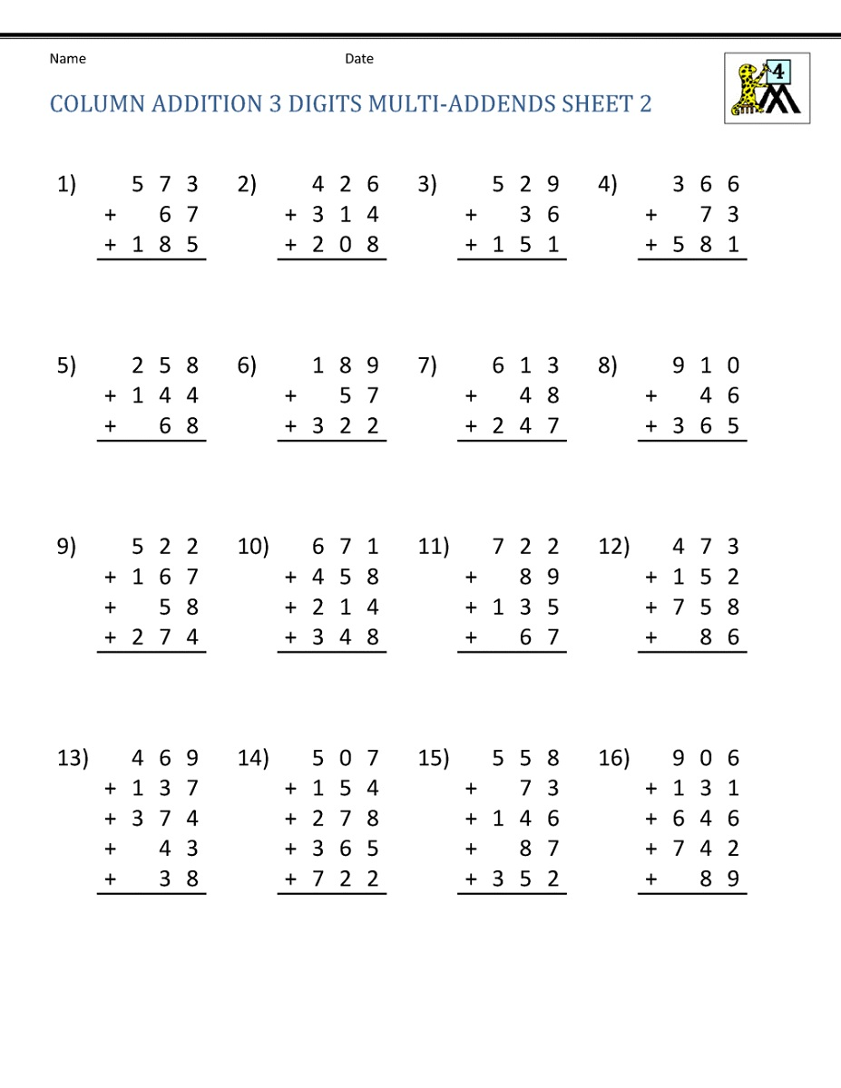Free Addition Worksheets 4th Grade