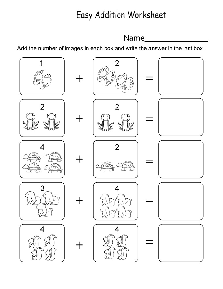 Free Addition Worksheets Easy