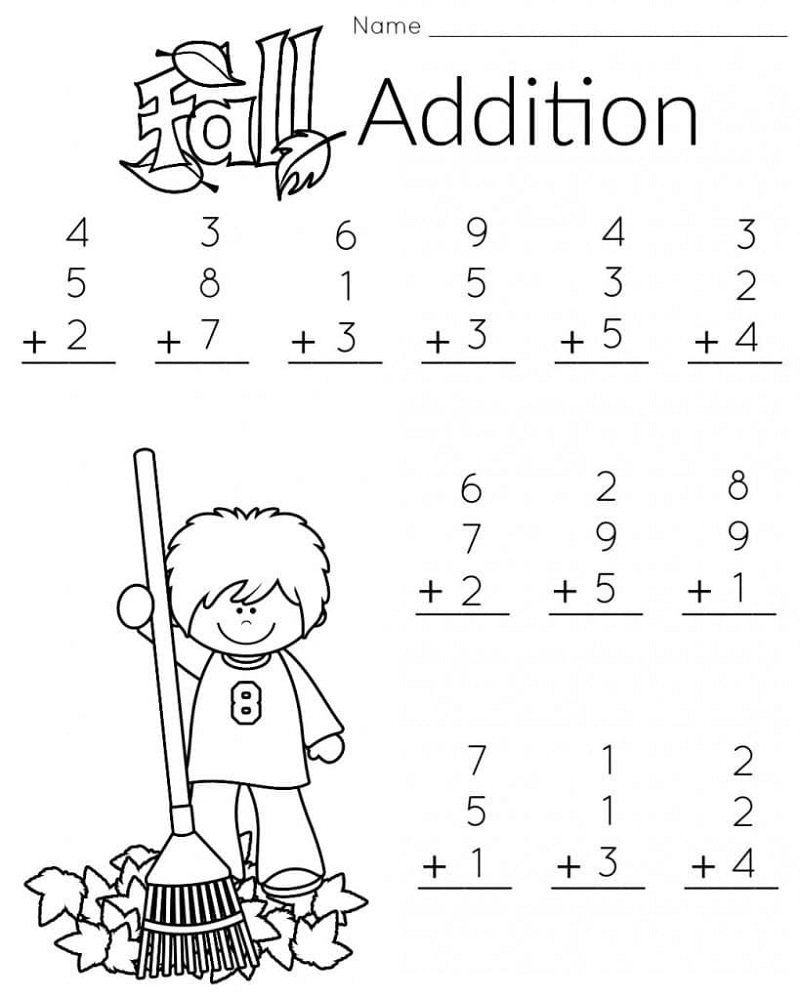 Free Addition Worksheets Fall