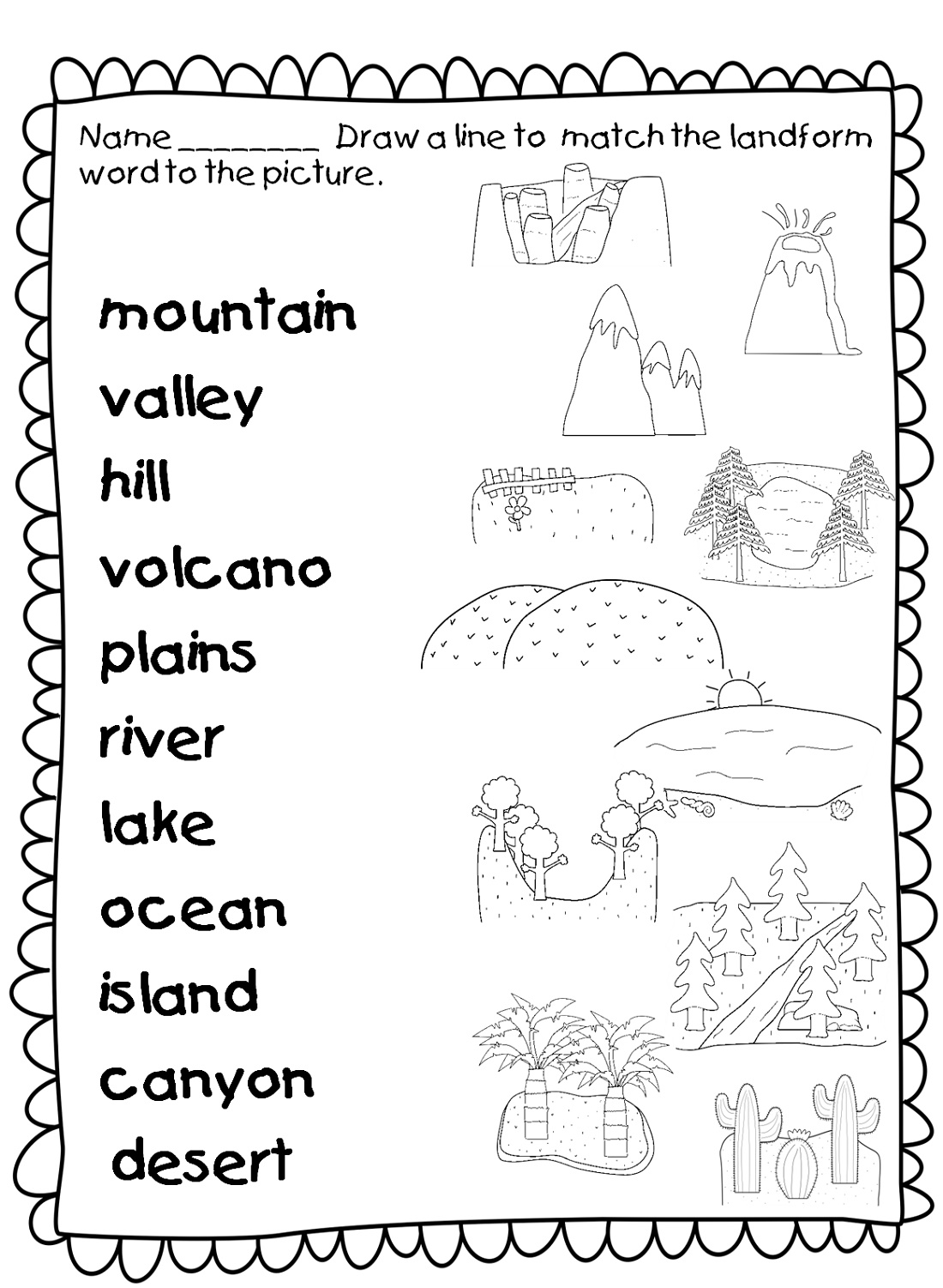 Geography Worksheets Landforms