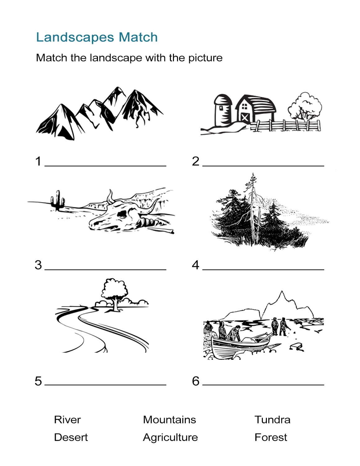 Geography Worksheets Landscape
