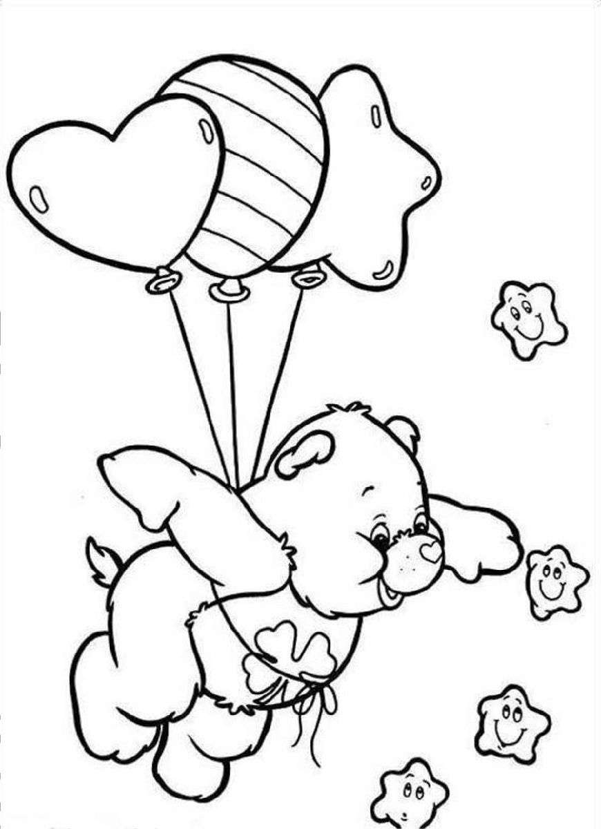 Care Bear Coloring Pages Baloons