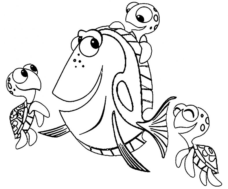 Dory Coloring Pages With Turtles
