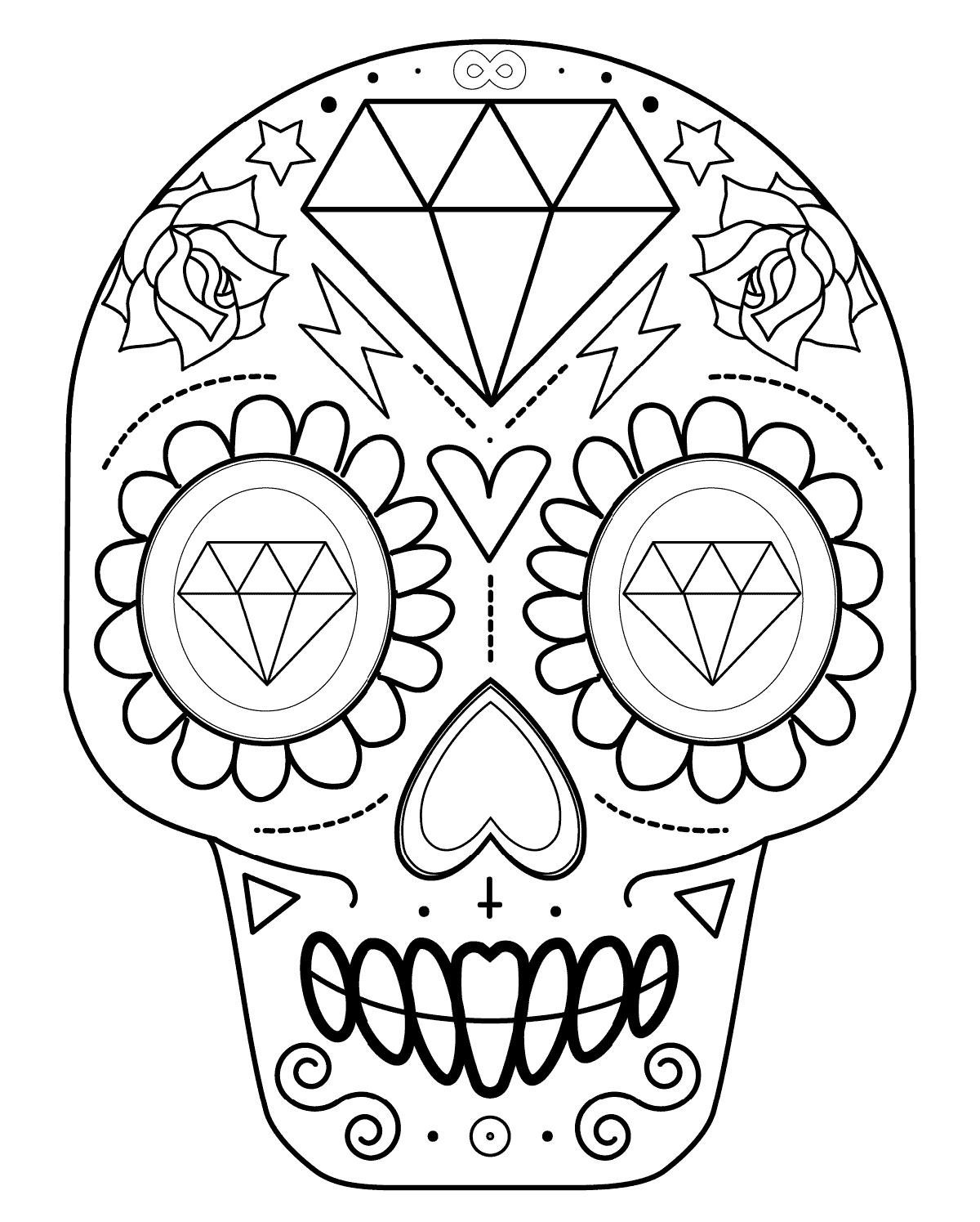 Easy Sugar Skull Coloring