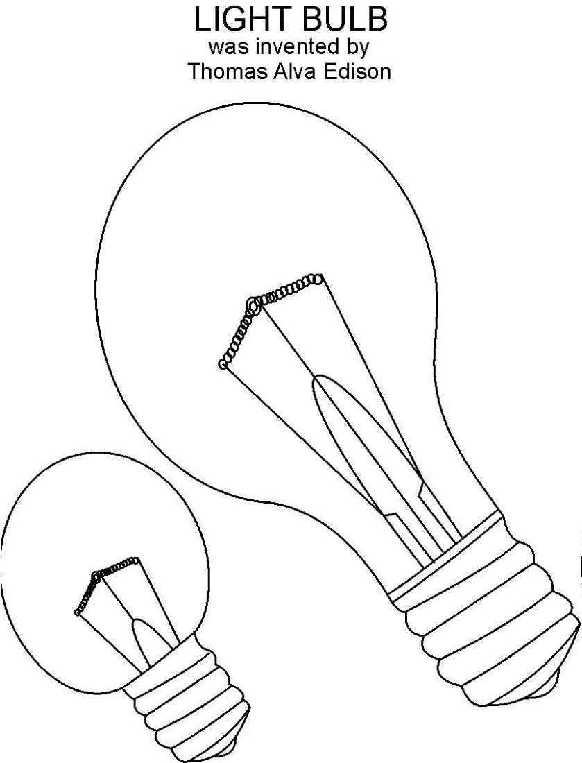 Edison Light Bulb Coloring Page