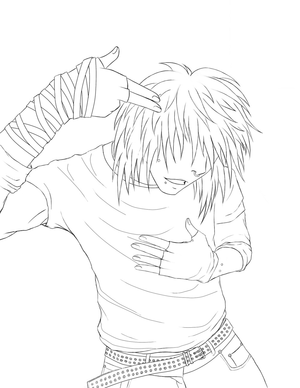 Emo Coloring Pages Boy