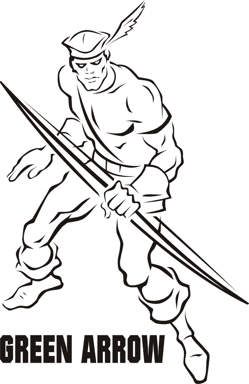 Green Arrow Coloring Pages Free