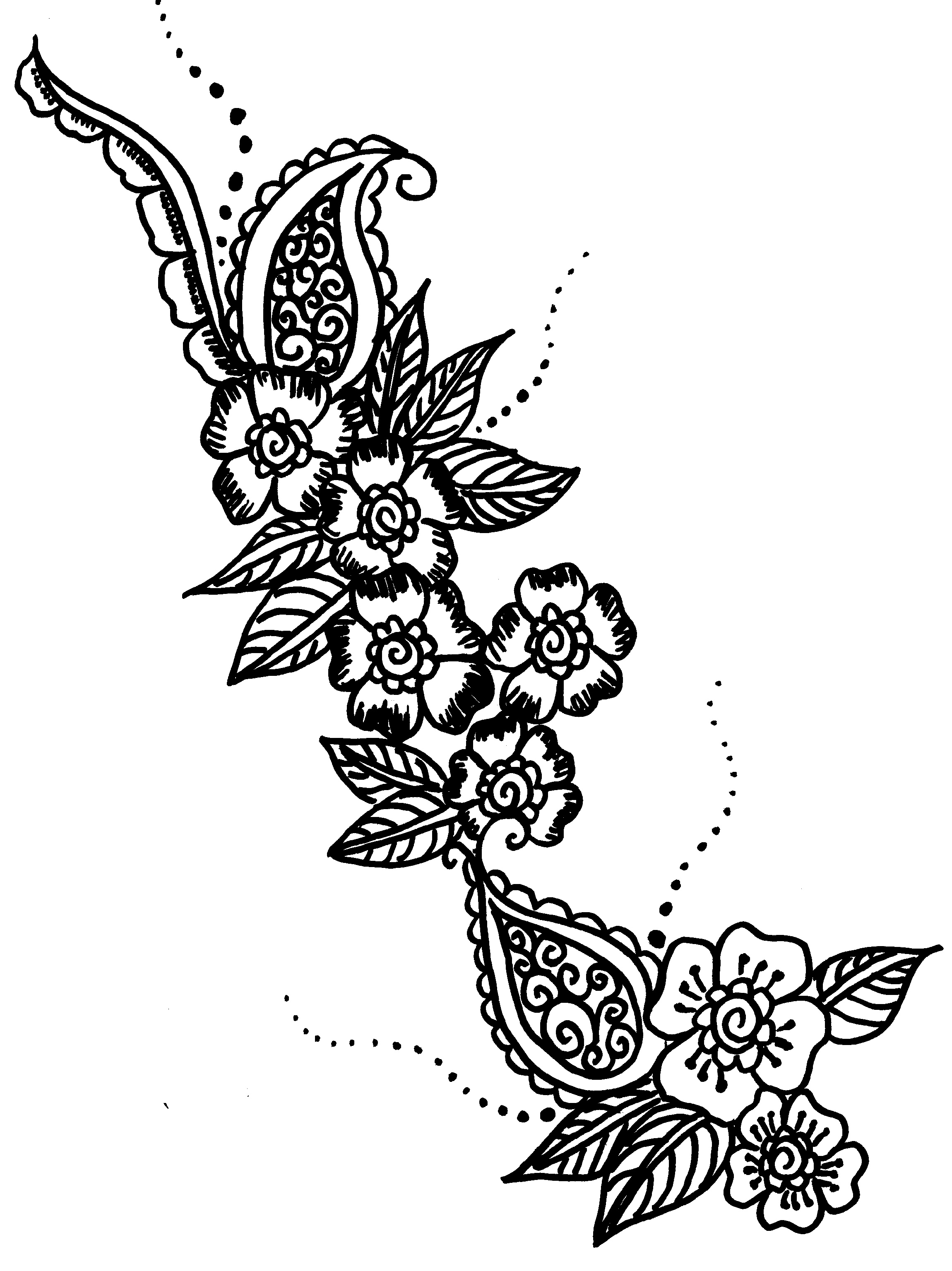 Henna Coloring Pages Flower