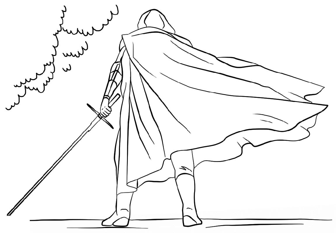 Kylo Ren Coloring Page With Lightsaber