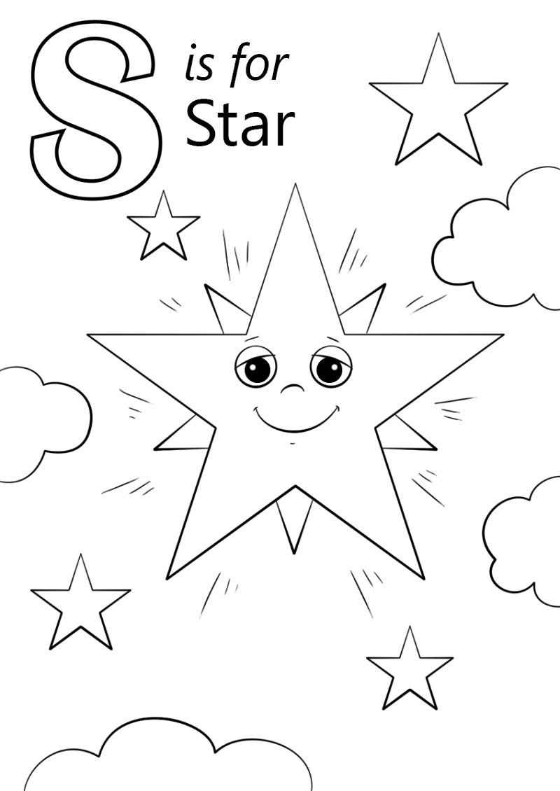 Letter S Is For Star Coloring Pages